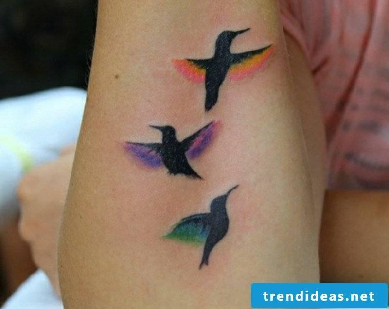 tattoo hummingbird-three Flying Hummingbird Tattoo Design-For-arm