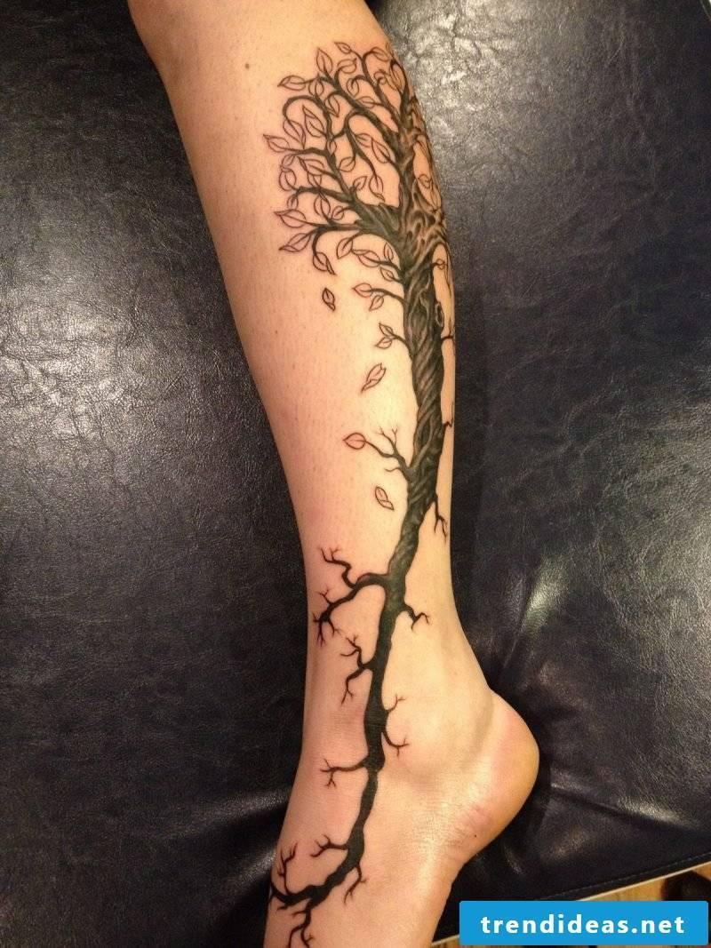 Tree of life tattoo leg