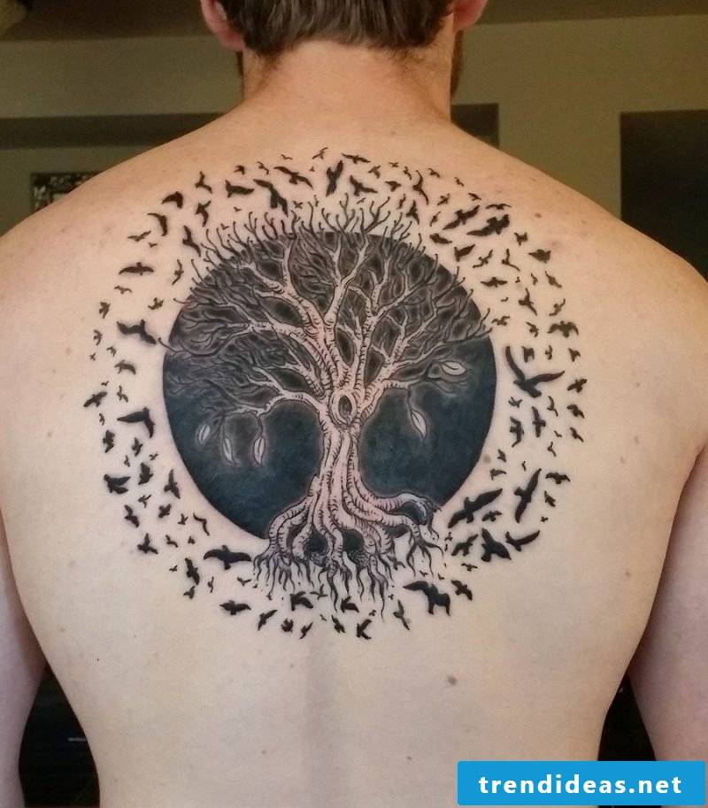 Tree of life tattoo with birds