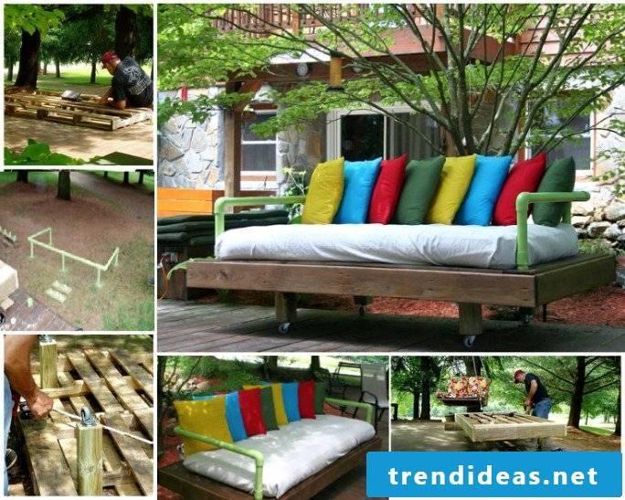 DIY sofa for garden terrace