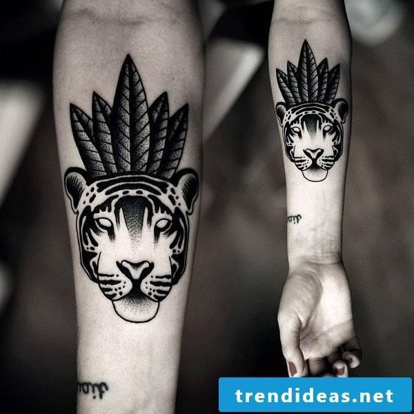 animal tattoo ideas tiger arm tattoo motifs women men