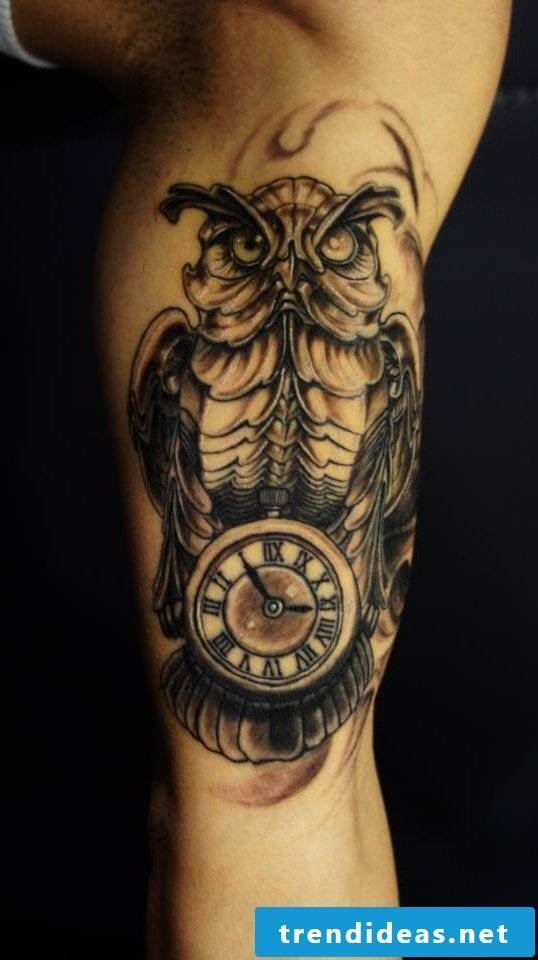 tattoo ideas small clock owl tattoos men