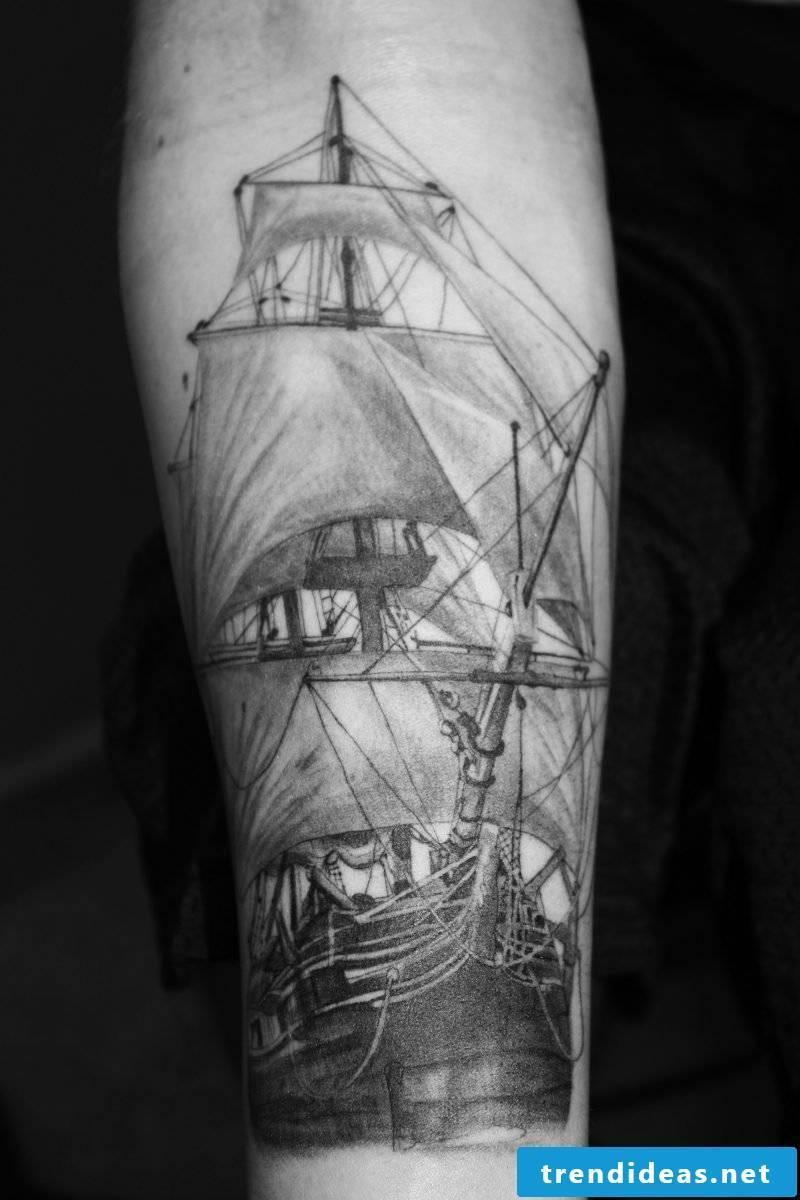 Ship tattoo ideas arm black tattoos men