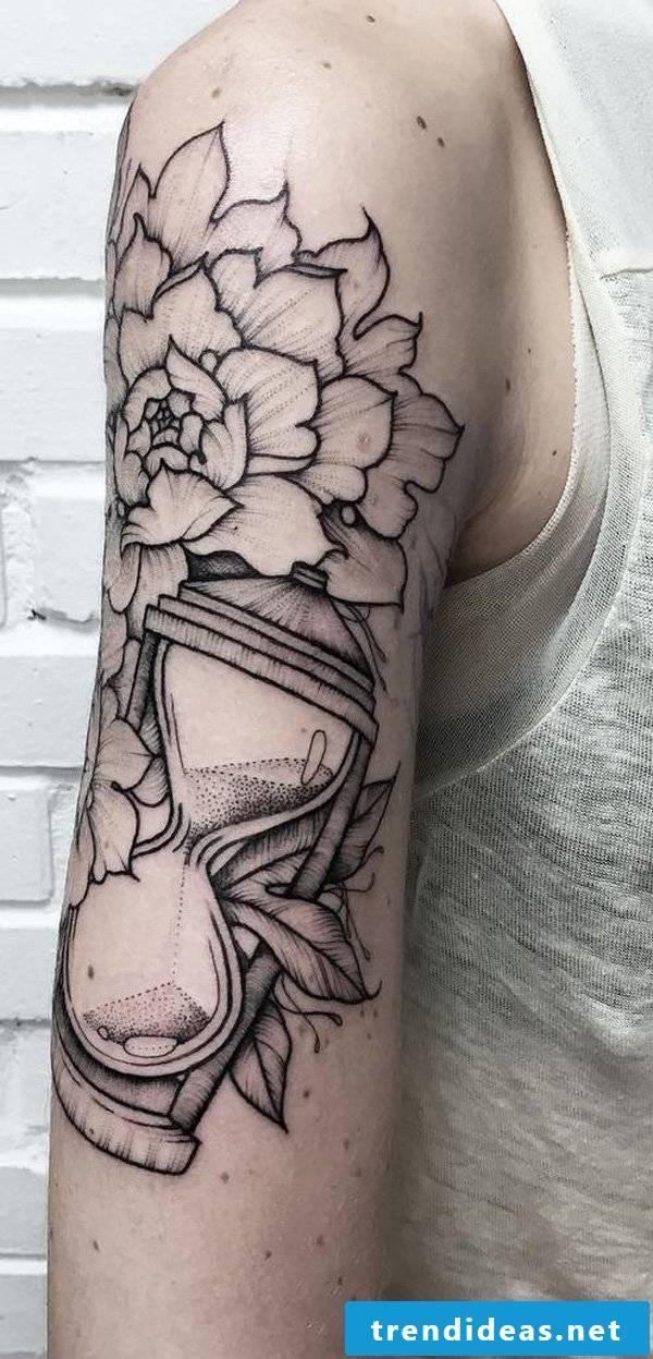 hourglass flowers tattoo ideas arm men