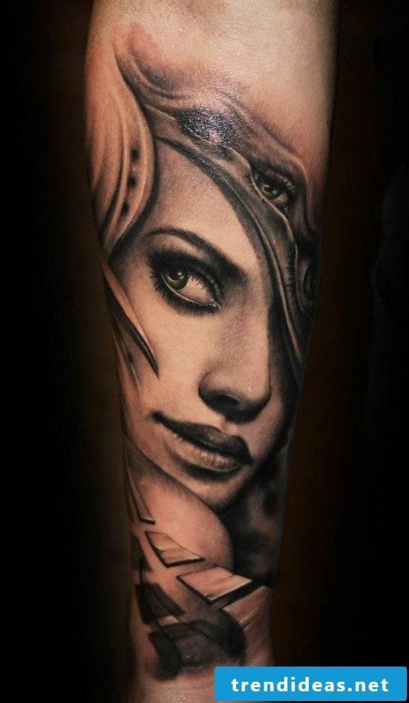 cool tattoo ideas arm portrait tattoo motifs women men