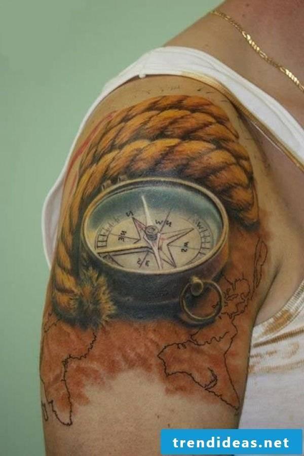 best tattoo ideas arm compass tattoo motifs colored tattoos men