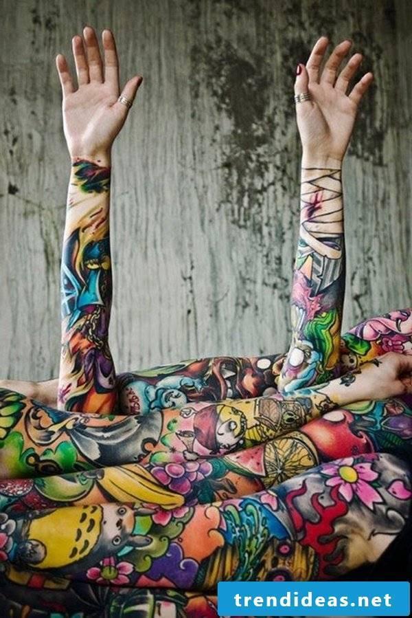 sleeve tattoo ideas tattoo motifs women men colored
