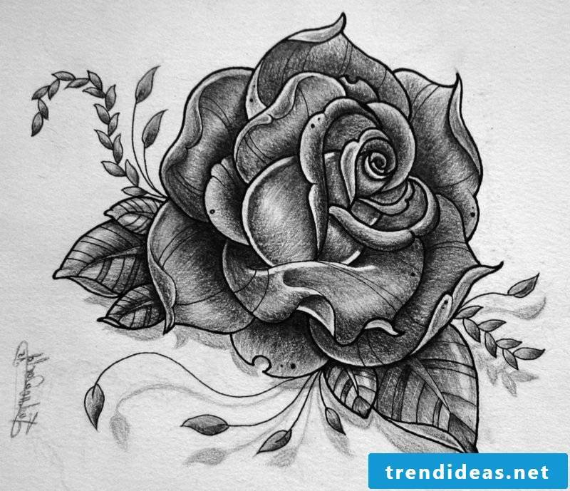 Rose tattoo template