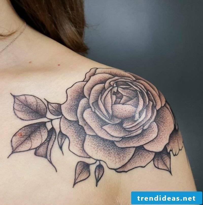 original rose tattoo on the shoulder