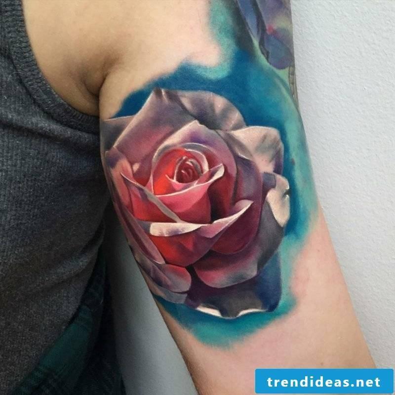 Stunning Tattoo Rose Upper Arm