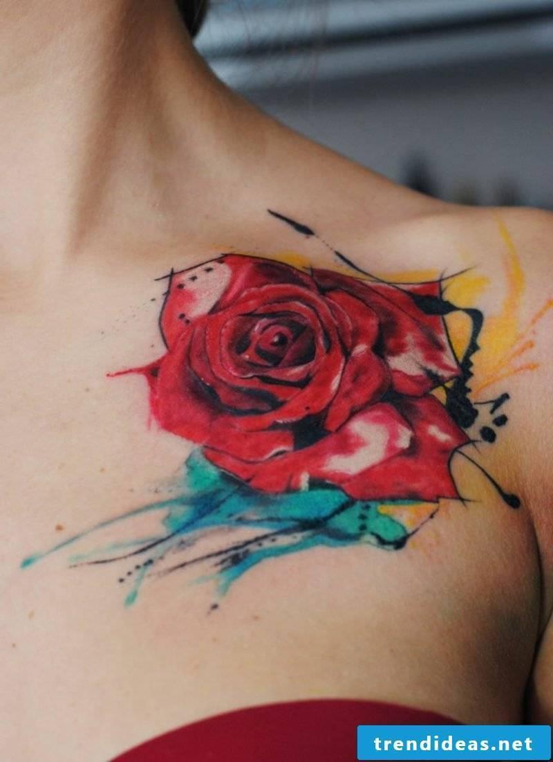 red rose shoulder tattoos for women