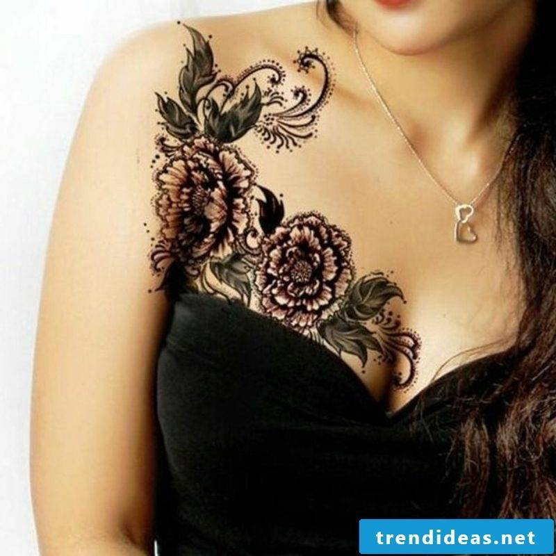 Flowers and butterfly original tattoo breast