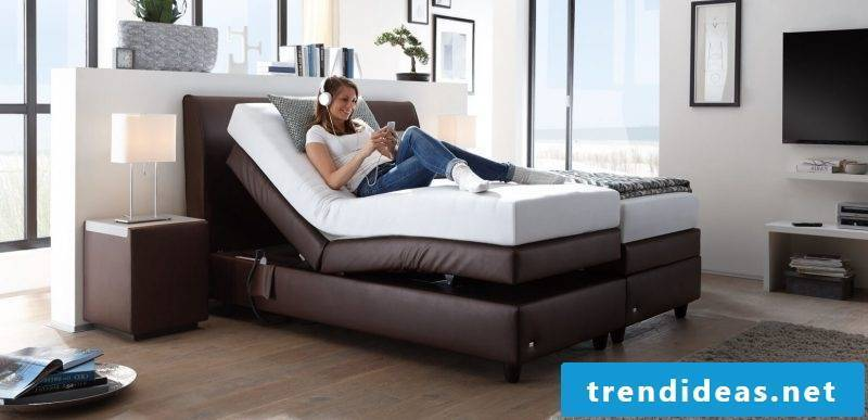 Box spring bed for a luxurious interior in the bedroom
