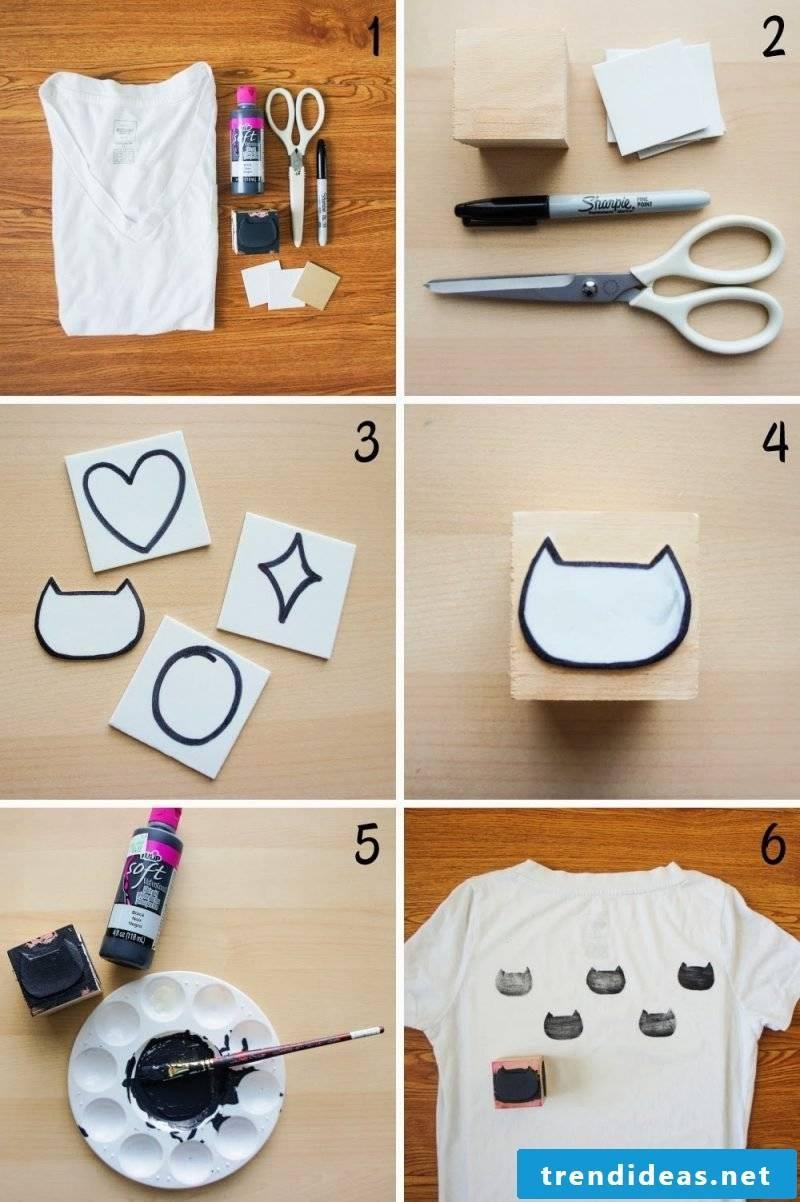 Make DIY stamp yourself and print on T-shirt