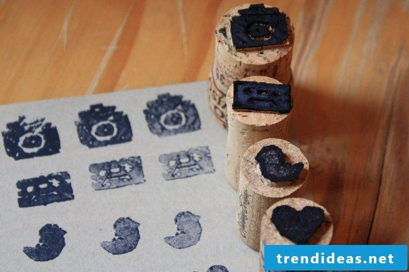 Make DIY stamp yourself with cork