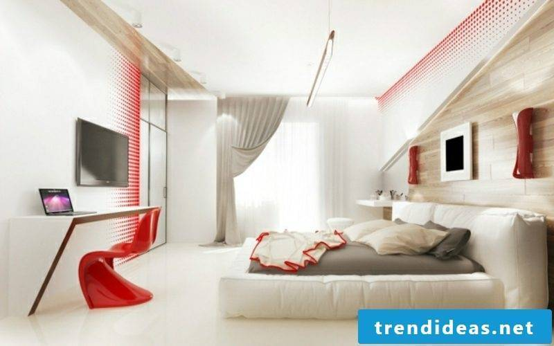 Bedroom ideas wall design accents in red