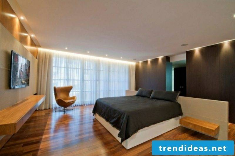 Bedroom frame flooring parquet LED lighting