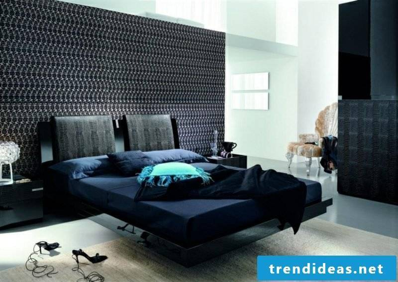 Bedroom design modern accent wall tapestry