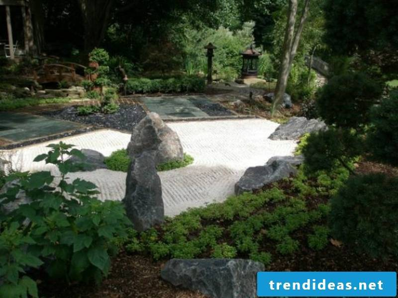 white and black stones in the Japanese garden
