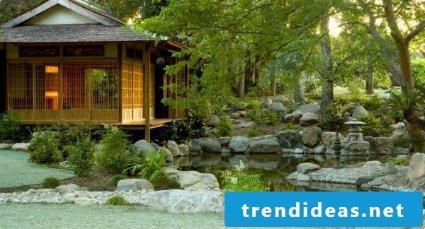 arranged stones in the Japanese garden