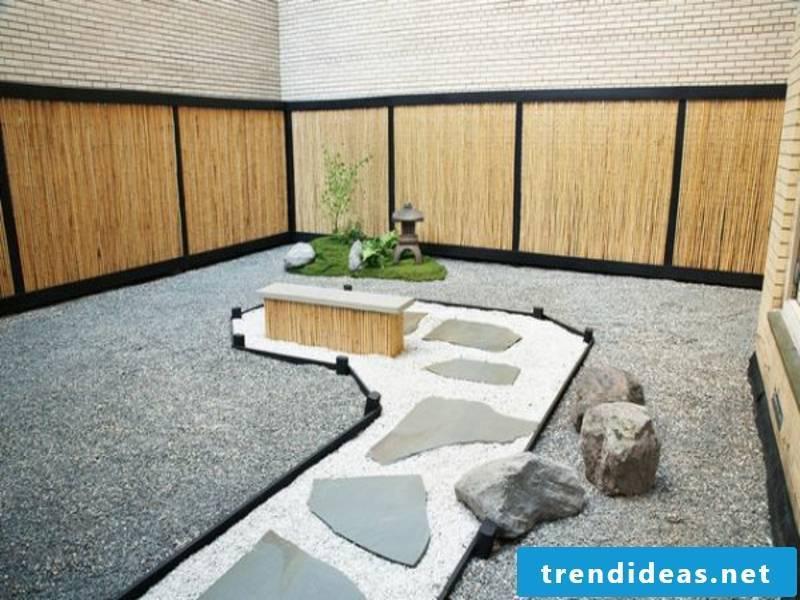 Japanese garden with stone decoration