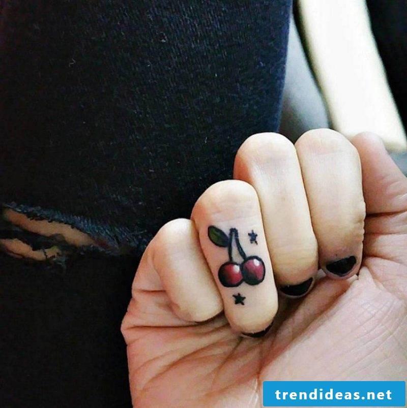 Finger tattoo colored design