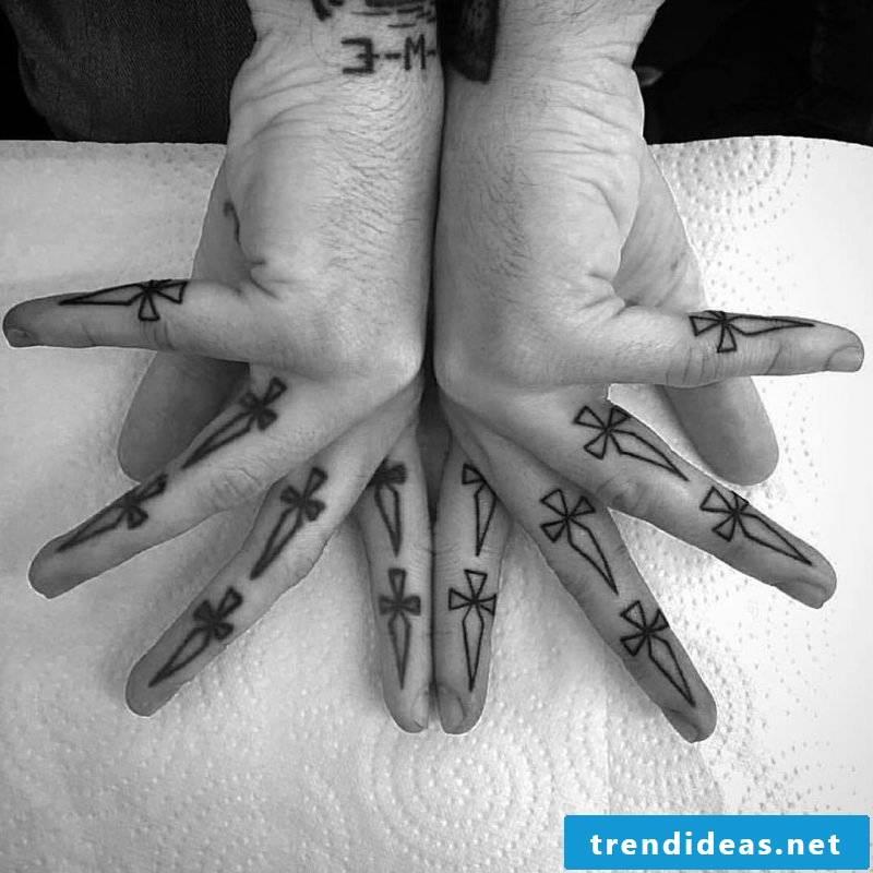 Finger tattoo palms