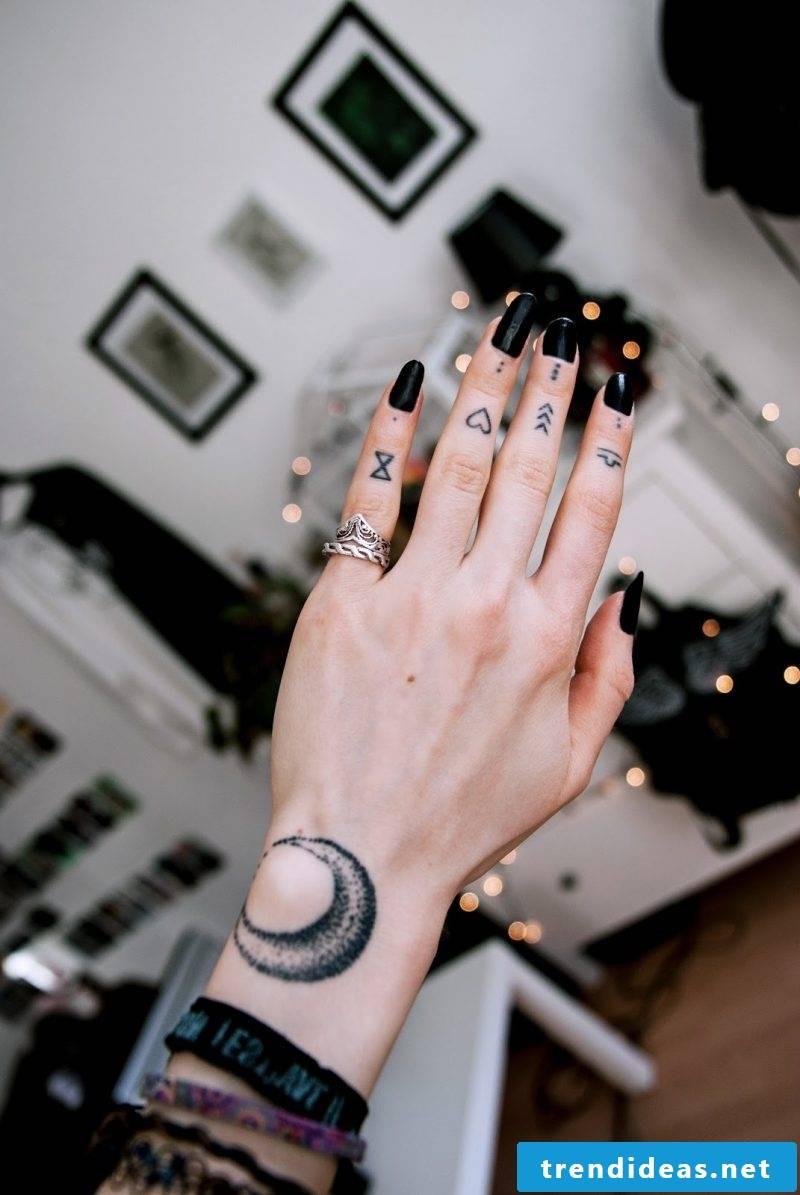 Finger tattoo different motives