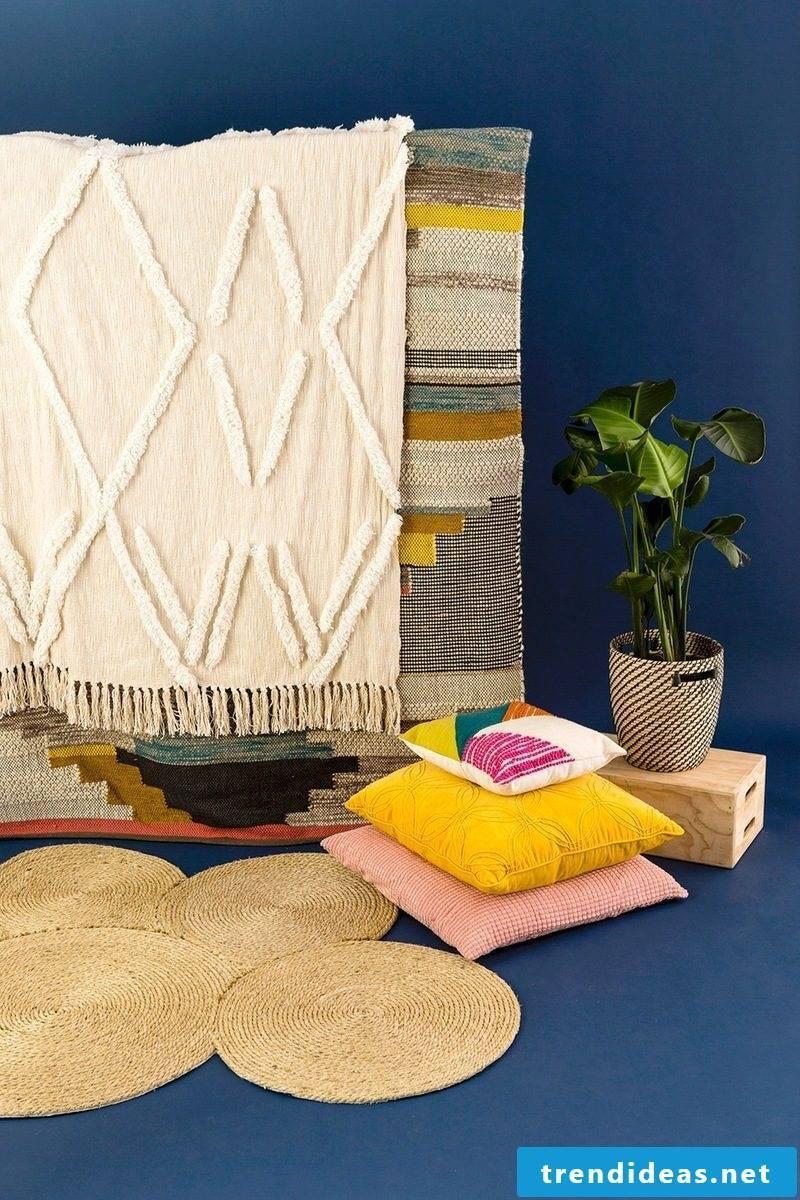 Decorative cushion yellow pink colorful indoor plants carpet diy decoration ideas
