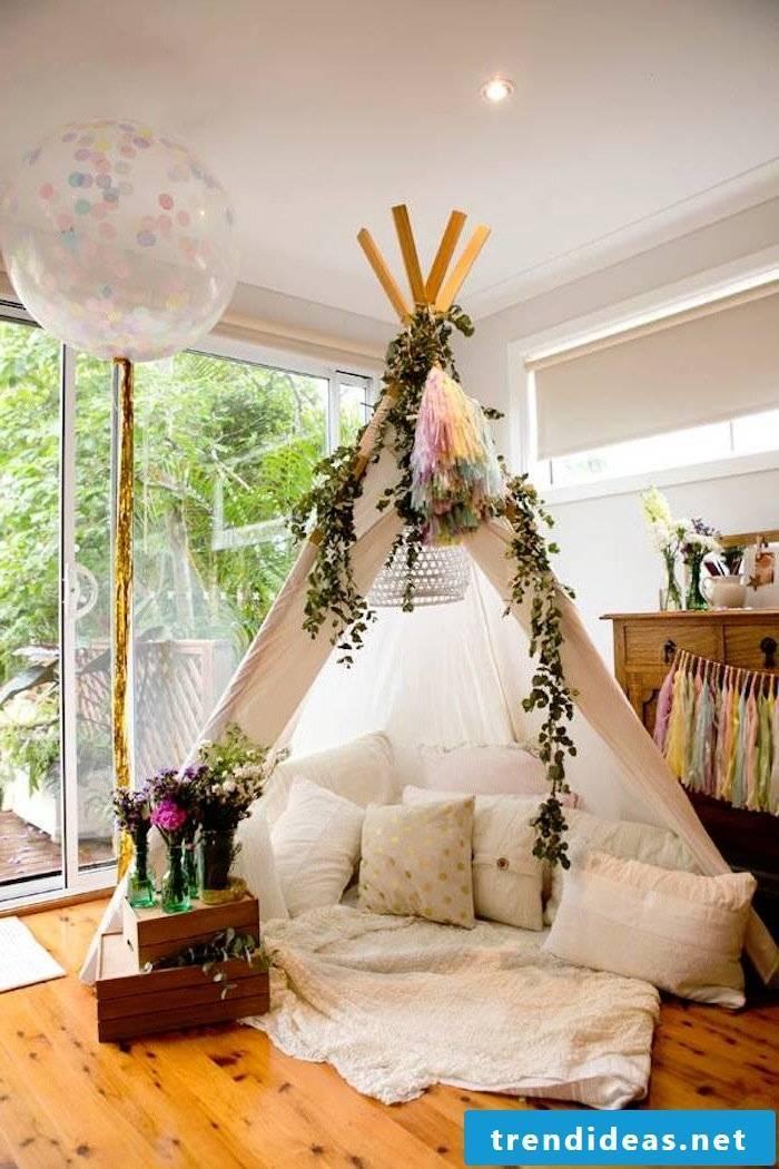 deco ideas winter tipi indian tent decoration pillow flowers diy deco