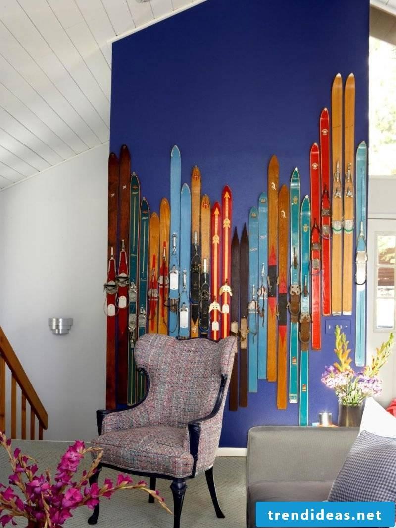 ski decoration wall living room decorate diy decoration ideas