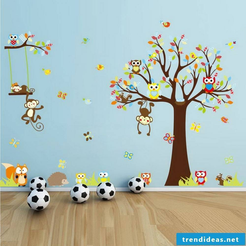 Funny nursery wallpaper with monkeys and owls