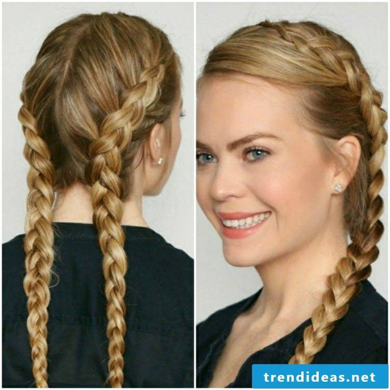 Octoberfest hair Dutch braids