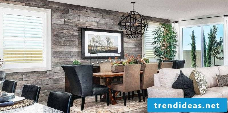 Wall panels with stone look for the dining room
