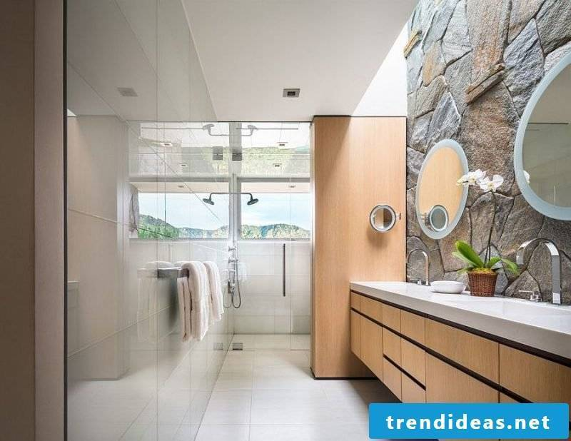 Combine wall panels with stone look with ceramic tiles