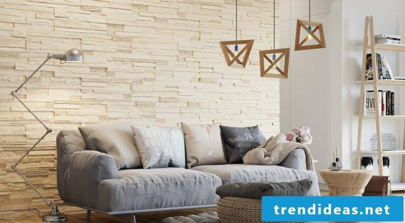 Wall panels with stone look for the whole wall
