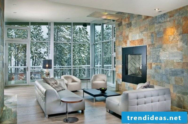 Stone-look wall panels on the wall with fireplaces
