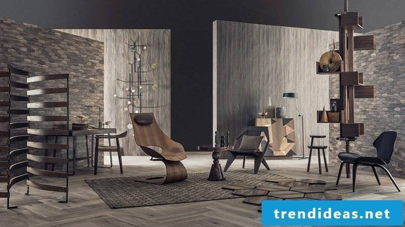 Rustic ambience in the living room with wall panels with stone look