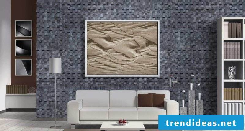 Wall panels with stone look in gray