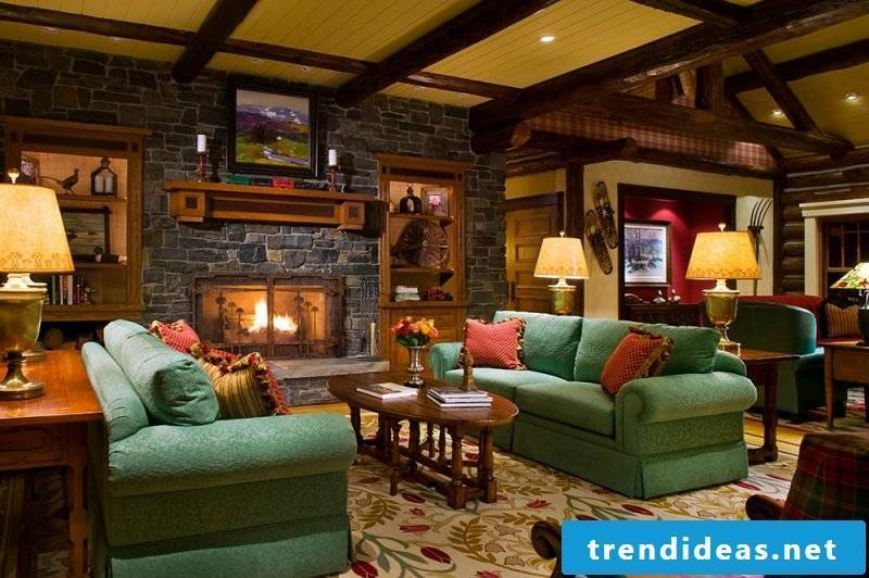 Country-style wall panels with stone look