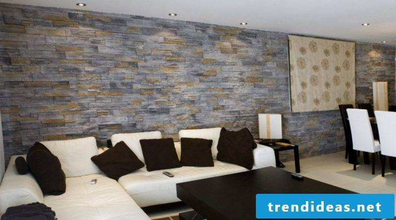 Wall panels with stone look in two colors