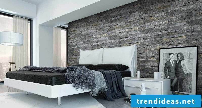 Gray stone wall panels for the bedroom
