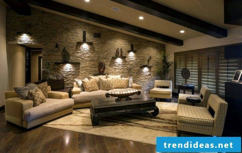 Combine country house style and modernity with wall panels with stone look