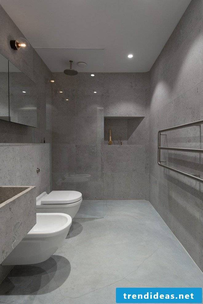 Concrete look makes the bathroom look purist and modern