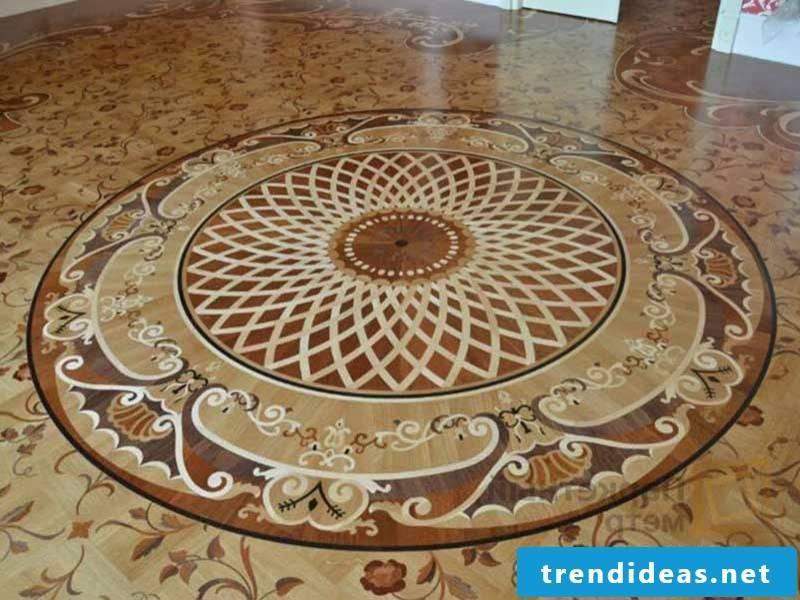 a sun on the parquet floor