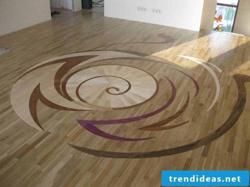 oval shapes on the parquet floor
