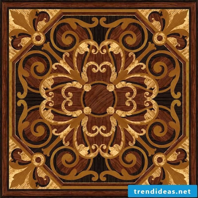 Symmetrical decoration on the parquet