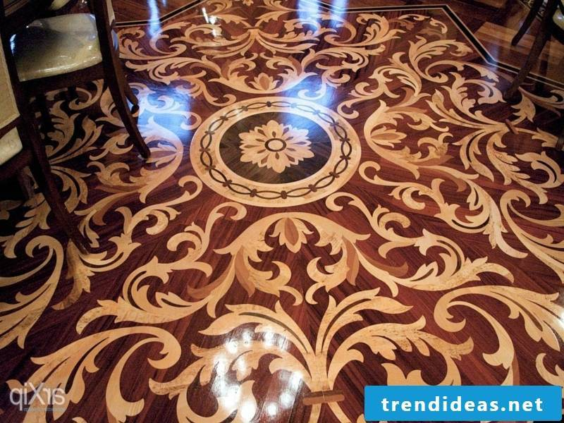 complicated wooden elements on the parquet