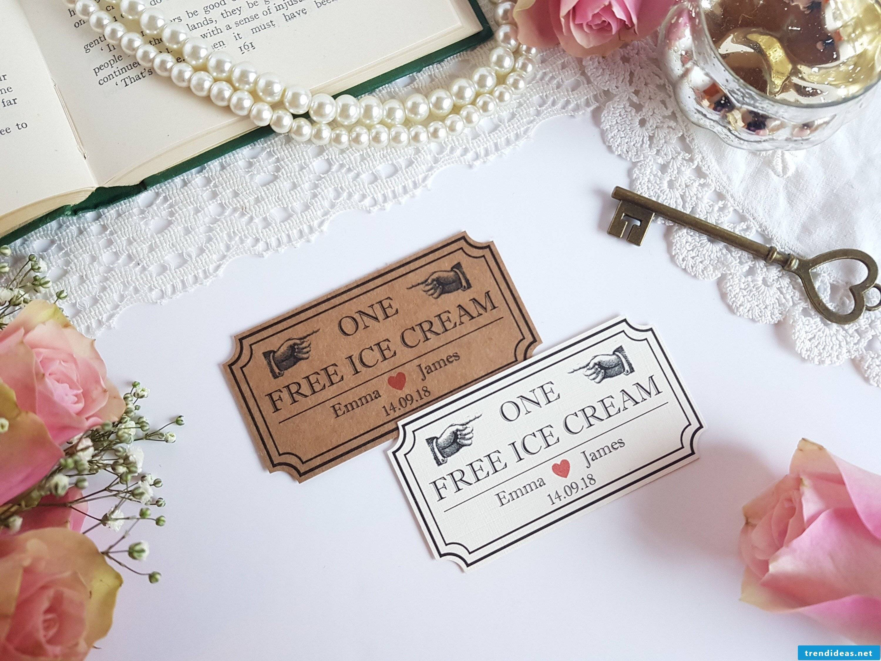 Funny ideas for wedding gift - tinker ice cream coupon