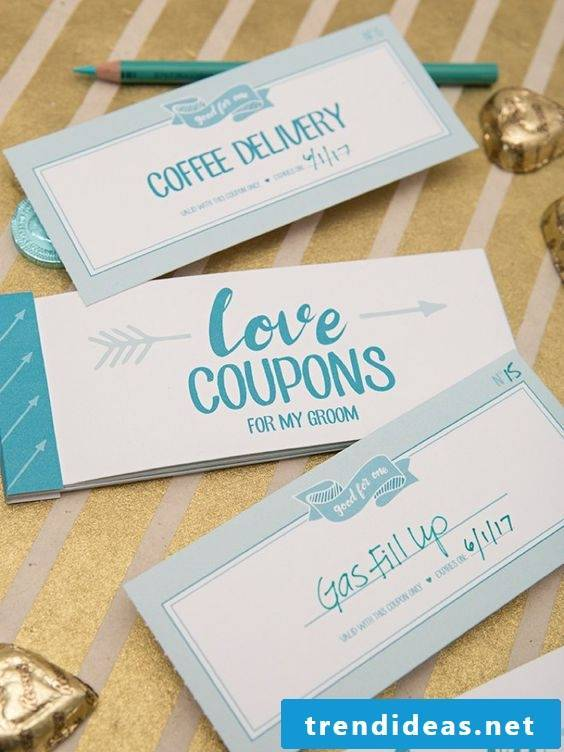 Make coupons yourself as a gift for groom